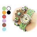 Women's Flower Pattern Leather Analog Quartz Bracelet Watch (Assorted Colors)