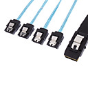 30AWG Internal Mini SAS 36pin (SFF-8087) Male w/ Latch to SATA 7pin Female (x4) Forward Breakout Cable Black(1.0M)