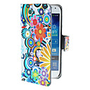 Exquisite Circles and Flowers Pattern PU Leather Case with Magnetic Snap and Card Slot for Samsung Galaxy S4 mini I9190