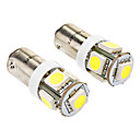 Ba9s 1W 5x5050SMD 70LM 6000-6500K White Light LED Bulb for Car (DC 24V, 2-Pack)
