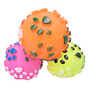 Dog Paws Pattern Sensory Ball Rubber Squeaking Toy for Pets Dogs (Assorted Colors)
