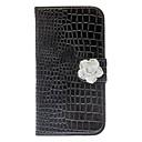 Exquisite Rhinestone Camellia Design Alligator Grain Leather Case for Samsung Galaxy S4 I9500