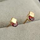 Gold plated bronze zircon stud Earrings ERZ0144