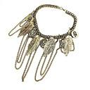 Korea Style Leaf Tassel Choker Necklace