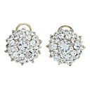 Silver Full-Crystal Round Stud Earrings