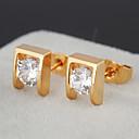 Gold plated bronze zircon stud Earrings ERZ0053