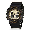 Мужская Спорт Стиль Dual Time зоны золото Циферблат резинкой наручные часы (разных цветов)