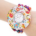 Женская цветочным узором эластичный красочные деревянные Pearl браслет кварцевые часы браслет
