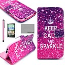 COCO FUN® Calm Sparkle Pattern PU Leather Full Body Case with Screen Protector, Stylus and Stand for HTC One M8