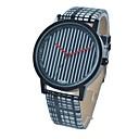 Women`s Stylish Simple Black-White Stripe Leather Band Alloy Dial Quartz Wristwatch (Black-White) Cool Watches Unique Watches