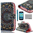 COCO FUN® Golden Tribal Pattern PU Leather Case with Screen Protector and Stylus for Samsung Galaxy S3 mini I8190