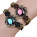 Galaxy Retro Handmade DIY Lover Time Multicolor Alloy Glass Leather Warp Bracelet(1 Pc)(Black,Brown)(As Picture 8)
