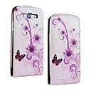 Фиолетовые цветы шаблон PU кожаный чехол для всего тела для Samsung Galaxy S3 I9300