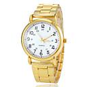 Женская Круглый циферблат Золото стальной лентой Кварцевые наручные часы