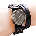 Простой Модный Бронзовый Циферблат Кожаный ремешок кварцевые браслет наручные часы