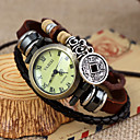 Women's Vintage Style Copper Cash Pendant Brown Leather Band Quartz Bracelet Watch Cool Watches Unique Watches