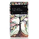 Многоцветный дерево Одно окно Раскладушка PU кожаный чехол для всего тела для Sony Xperia Z2