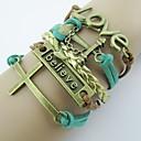 Западных Vintage 20 см Женская Зеленый Коричневый Золотой Якорь браслет сплава Wrap браслет (1Pc)