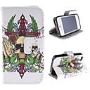 Кожаный чехол череп дизайн PU с карт памяти и подставка для IPhone 4S