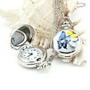 Персонализированные бабочка шаблон карманные часы серебряные эмали Металлические ремешки