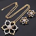 U7 Цветы Серьги Ожерелье 18K Gold Platinum Двухместный позолоченный Rhinestone ювелирные изделия Set