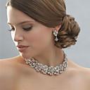 Женская серебро / сплава свадьба / партии комплект ювелирных изделий с Rhinestone Белый Стразы / кристалл / алмаз для новобрачных