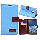 Denim Full Body Cases PU Leather Phone Protective Shell with Card Bag for Samsung Galaxy Note Edge N9150