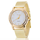 Lady's White Case Gold Stainless Steel Band Wrist Fashion Dress Watch Jewelry