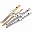 des Paares Uhr aus rostfreiem weiß Fall Stahlband Handgelenk Mode Kleid