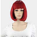 kurze Perücke matt-rot perruque naturelle courte synthetischen Frauen nette fringe gerade bob Perücke hitzebeständig Haar