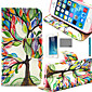 LEXY® Art Color Tree Pattern PU Full Body Leather Case with Screen Protector and Stylus for iPhone 5/5S