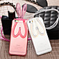 Fashion Cute Transparent Silicone Rabbit Ears Lanyard Back Stand Case Cover For iPhone 5/5S (Assorted Colors)